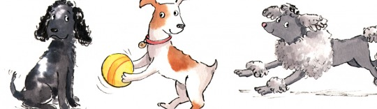 Watercolour illustration of dogs by Hannah George represented by Meiklejohn