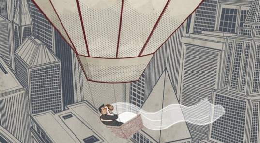 Stylised illustration of wedding couple in hot air balloon by Garry Parsons