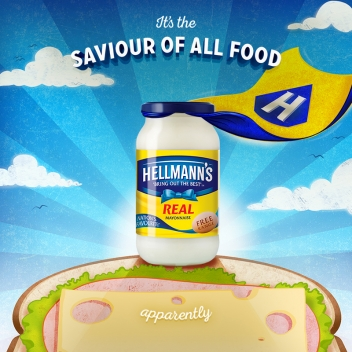 Superhero food illustration for Hellmann's by Garry Parsons represented by Meiklejohn